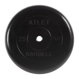 Диск обрезиненный MB Barbell Atlet (чёрный) d:26 мм, 25 кг