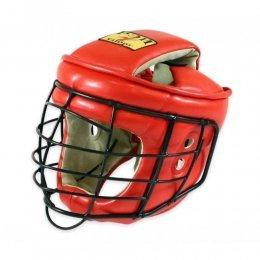 Шлем с маской для АРБ Рэй-спорт Титан-2 кожа (красный)