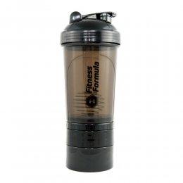 Шейкер Fitness Formula с 2 контейнерами 500 мл (чёрный)