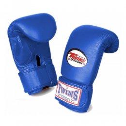 Перчатки снарядные Twins на липучке, кожа (синий)