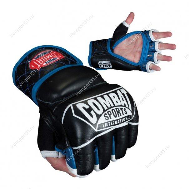Перчатки боевые для ММА Combat кожа (чёрный/синий)