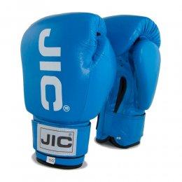 Перчатки боксёрские JIC кожа, PU (синий)