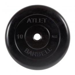 Диск обрезиненный MB Barbell Atlet (чёрный) d:26 мм, 10 кг