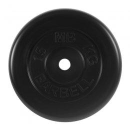 Диск обрезиненный MB Barbell (чёрный) d:31 мм, 15 кг