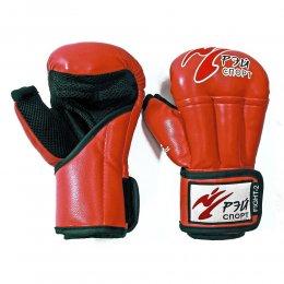 Перчатки для рукопашного боя Рэй-спорт Fight-2, кожа (красный)