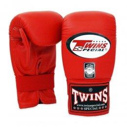 Перчатки снарядные Twins на резинке, кожа (красный)