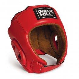 Шлем для кикбоксинга Green Hill Best, кожа (красный)