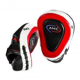 Лапы боксёрские вогнутые AML GEL PU (чёрный/красный)