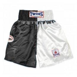 Шорты для тайского бокса Twins (чёрный/белый)