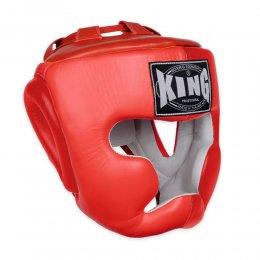 Шлем боксерский тренировочный King кожа (красный)