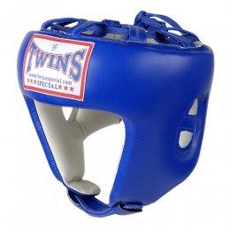 Шлем боксерский Twins кожа (синий)