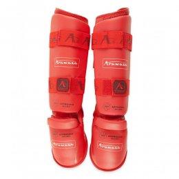 Защита голени и стопы Arawaza WKF Approved 2015 (красный)
