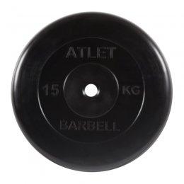 Диск обрезиненный MB Barbell Atlet (чёрный) d:26 мм, 15 кг